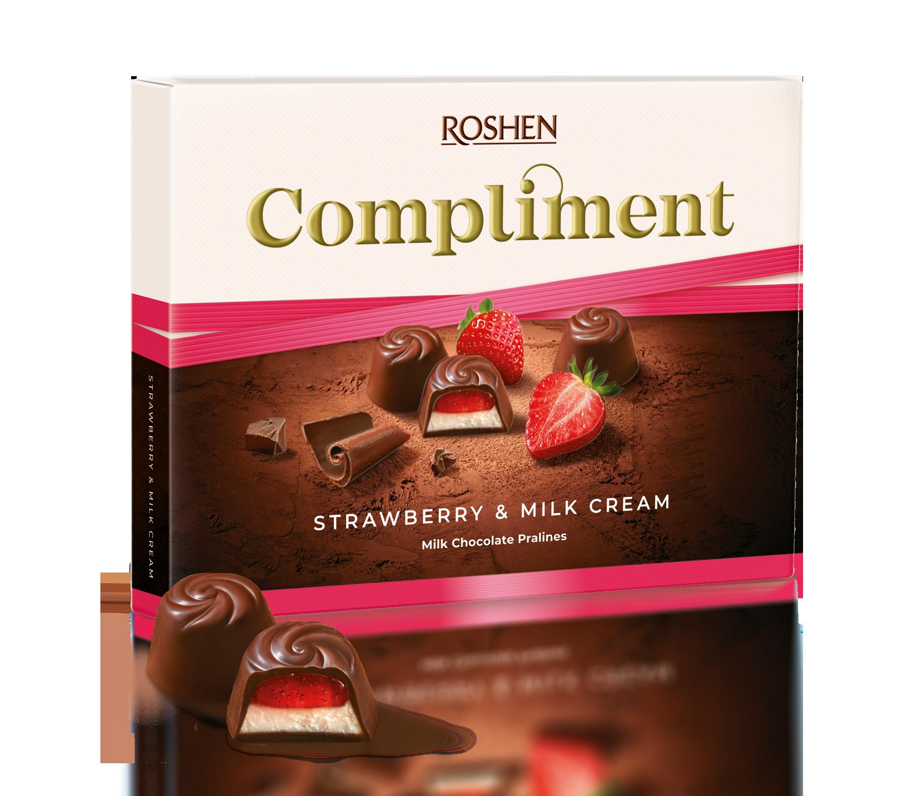 Цукерки Compliment з полунично-молочною начинкою 123 г