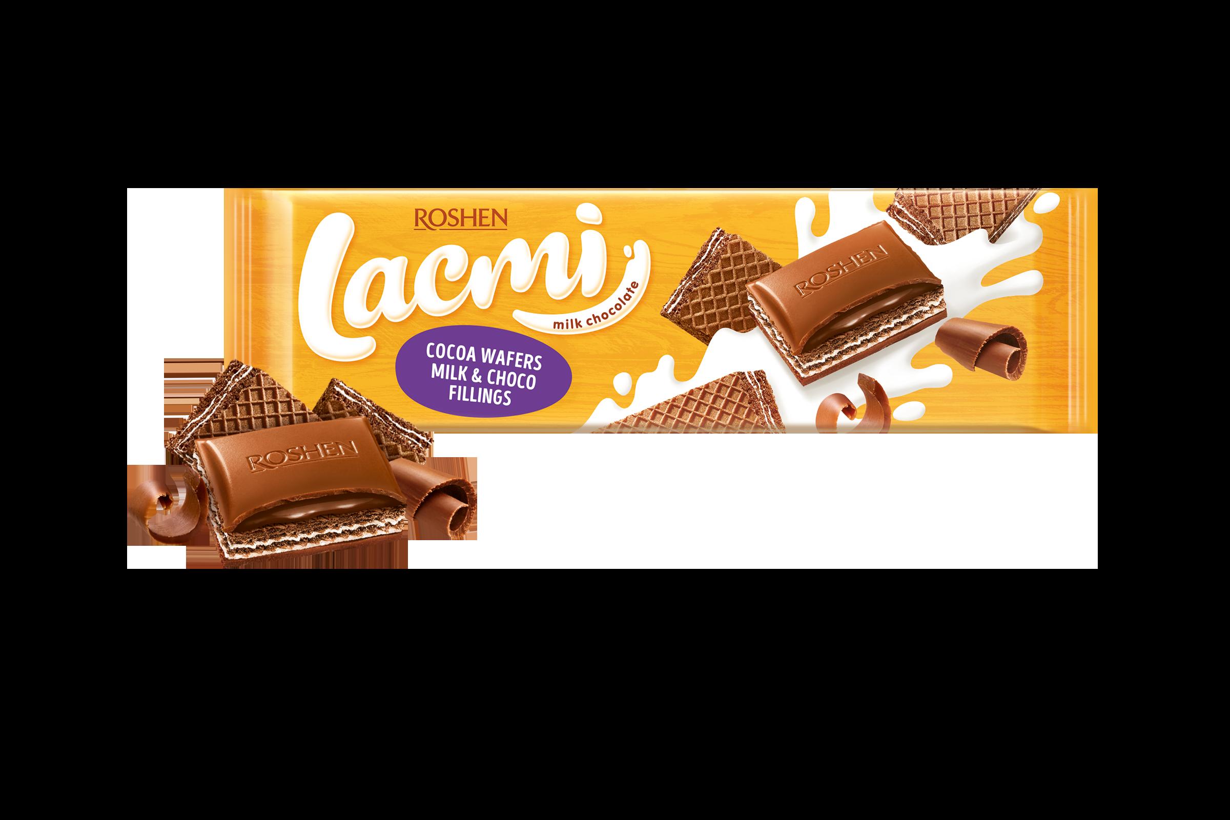 Шоколад Lacmi молочний з вафлею і подвійним кремом 265 г