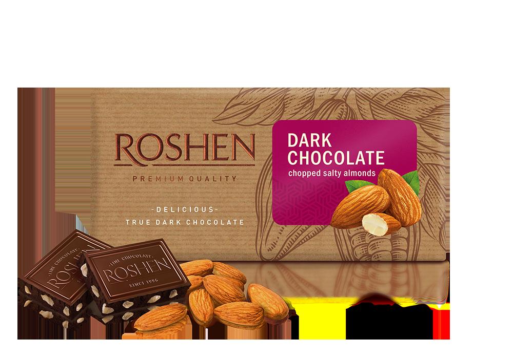 Шоколад чорний з підсоленим мигдалем 90 г