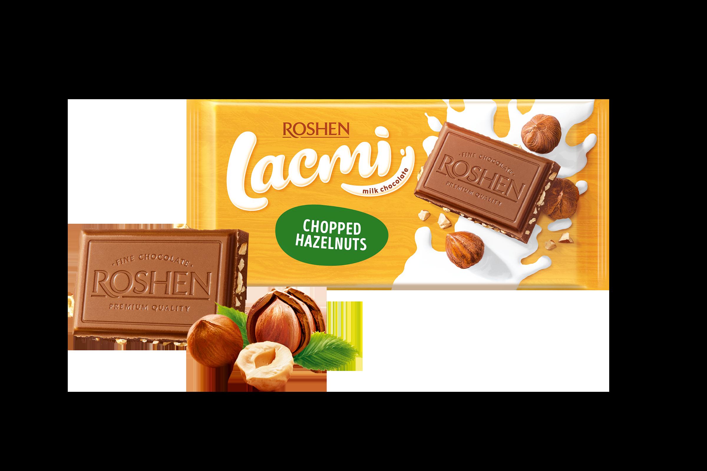 Шоколад Lacmi молочний з подрібненим лісовим горіхом 90 г