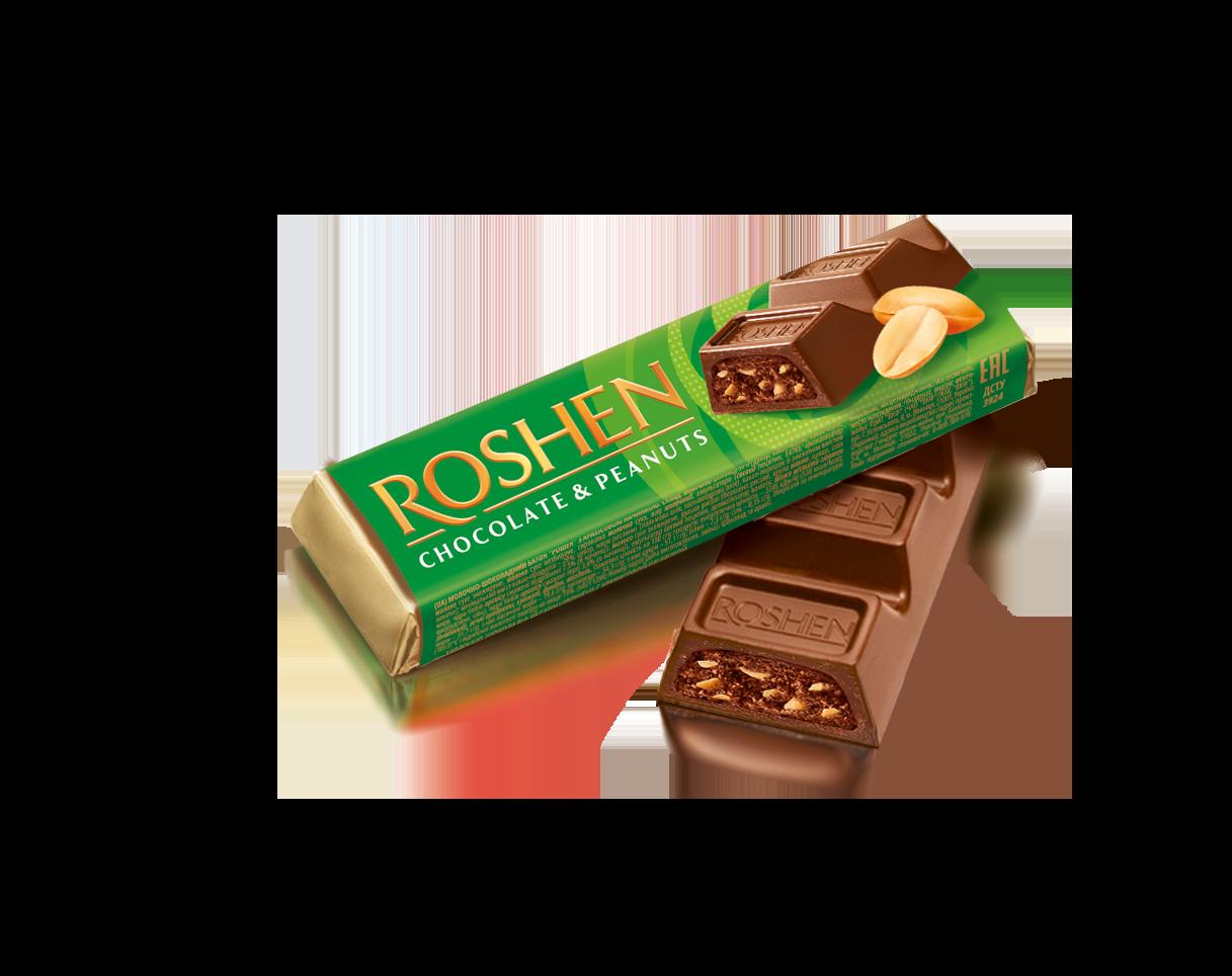 Батон молочно-шоколадний з арахісовою начинкою 38 г