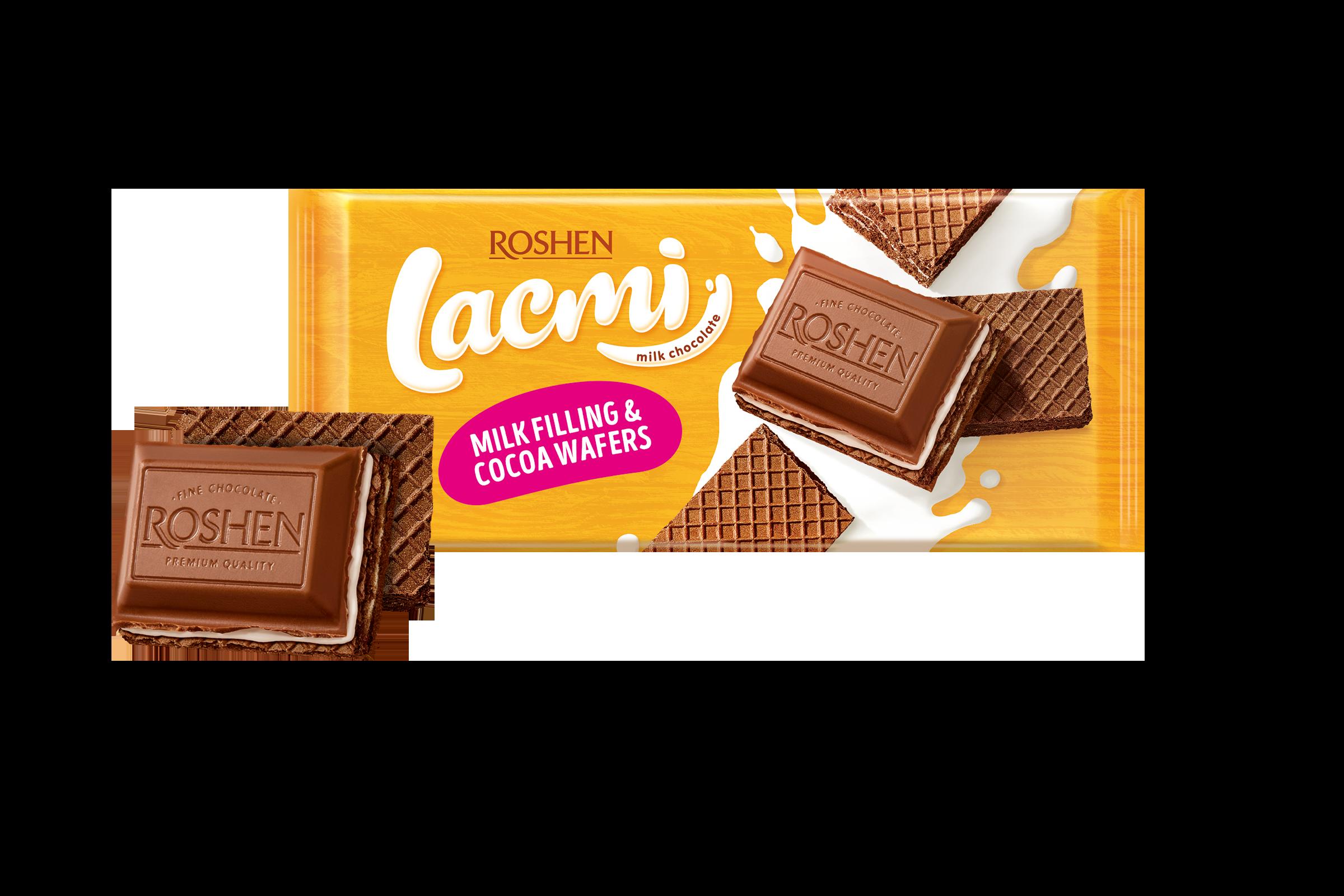Шоколад Lacmi молочний з молочною начинкою та вафлею  90 г