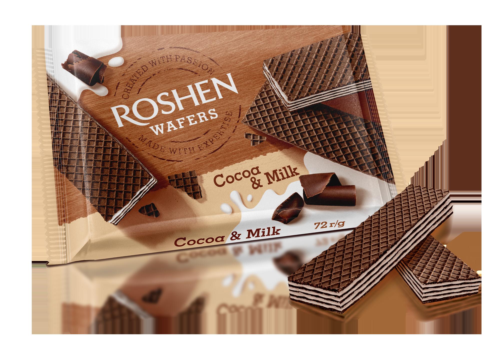 Вафлі Roshen Wafers Cocoa&Milk  72 г