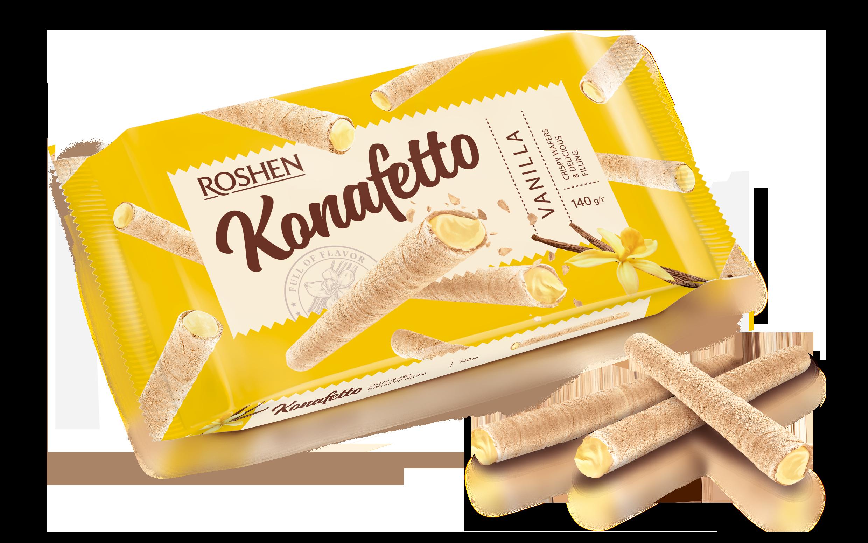 Вафельні трубочки Konafetto з ванільною начинкою 140 г