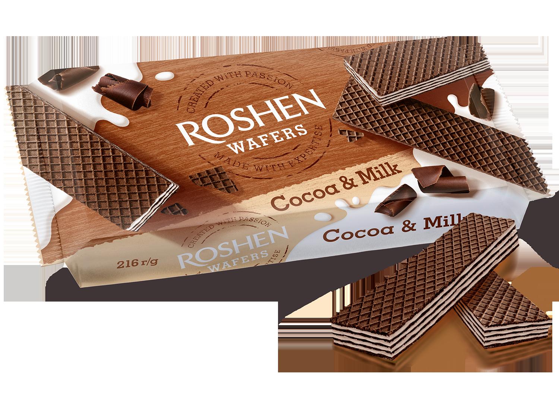 Вафлі Roshen Wafers Cocoa&Milk  216 г