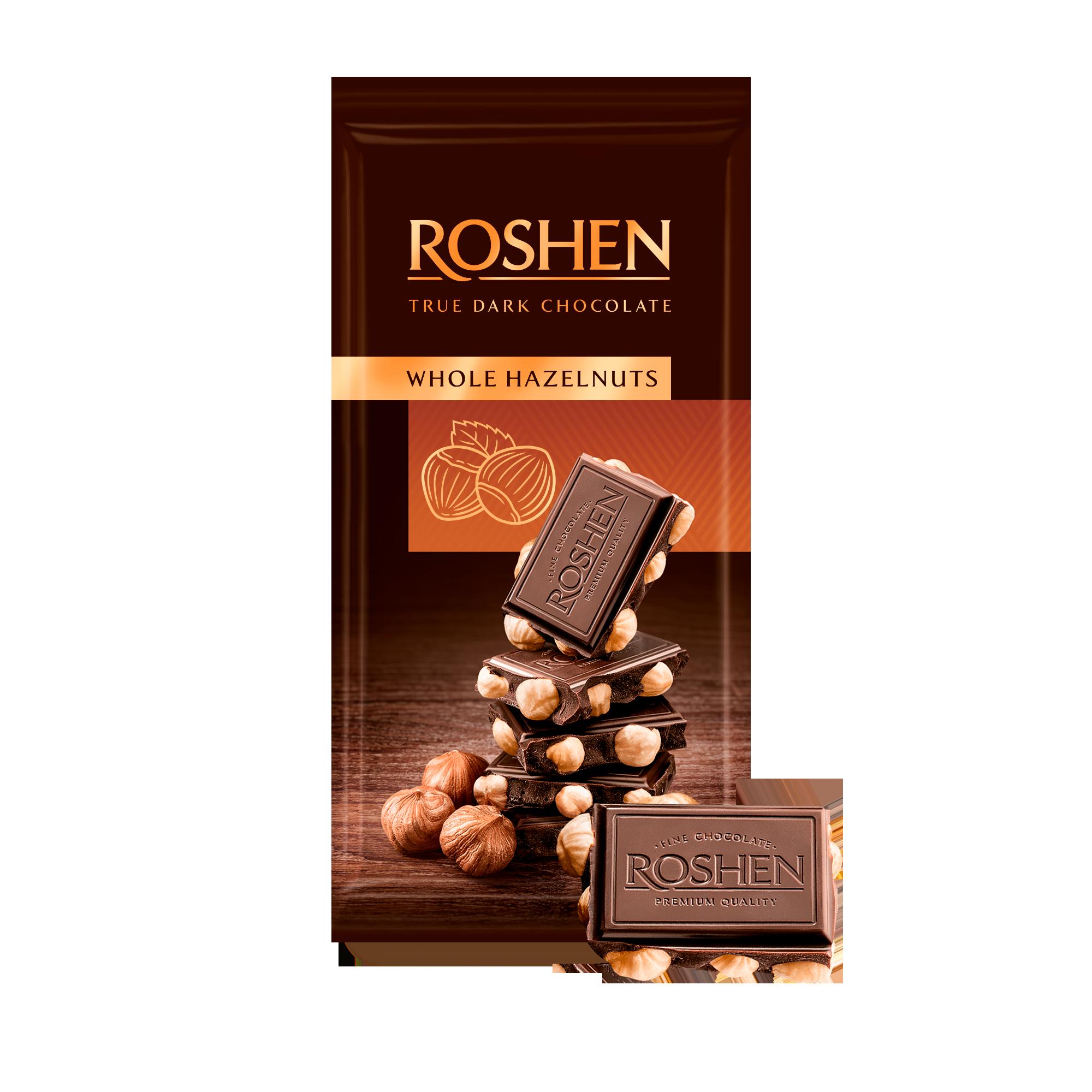Шоколад екстрачорний з цілим лісовим горіхом 90 г
