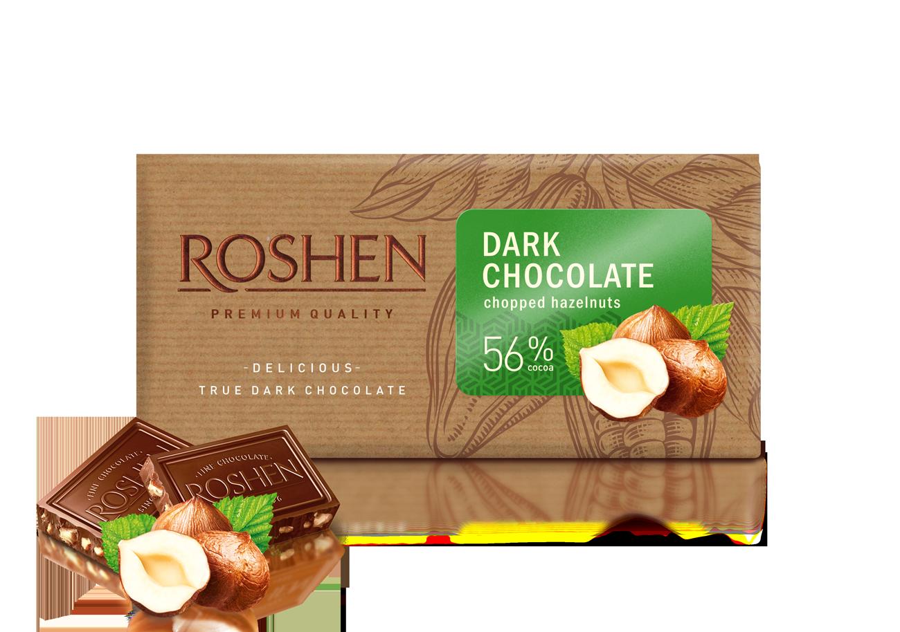 Шоколад чорний з подрібненим лісовим горіхом 56%  90 г