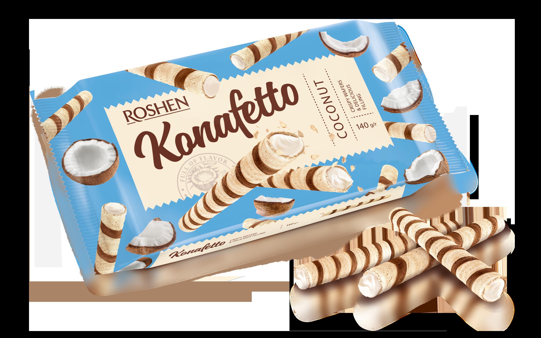 Вафельні трубочки Konafetto з кокосовою начинкою 140 г