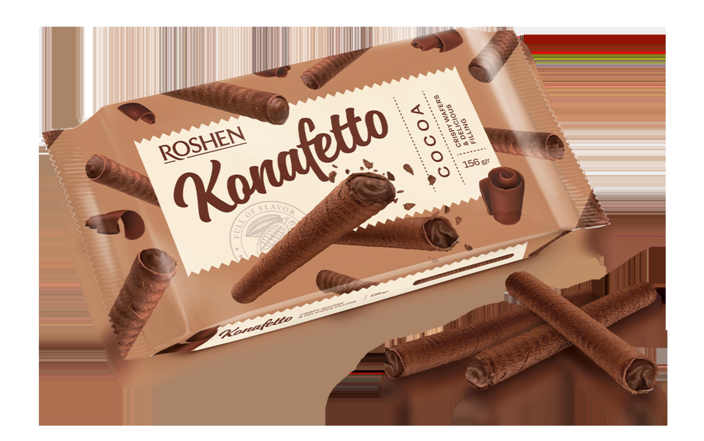 Вафельні трубочки Konafetto з начинкою крем-какао 140 г